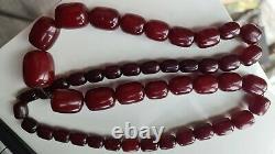 Véritable Antique Cerise Ambre Bakélite Faturan Kehribar Prière Beads 141 Gr