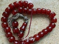 Véritable Antique Cherry Amber Bakélite Faturan Perles De Prière Damari 60g