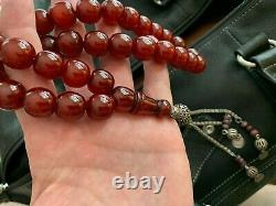 Véritable Antique Cherry Amber Bakélite Faturan Perles De Prière Islamique 130g