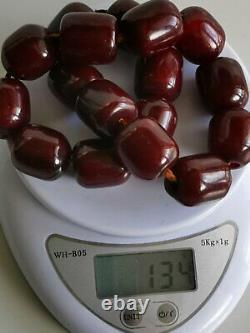 Véritables Perles Antiques De Faturan D'ambre De Cerise. Rosaire. 134grammes