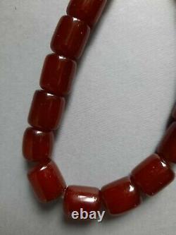 Vieille Cerise Ambre Bakélite Perles 88 Gr. 33 CM