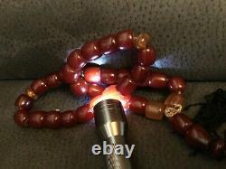 Vieux Islamique Misbaha Couleur Cerise Chine Antique Bead Bakelite Collier (m1041)