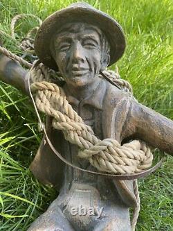 Vintage Allemand / Suisse Mountain Climber Amber Lampe Suspendue En Verre Teinté
