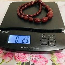 Vintage Antique Cherry Amber Bakelite 12 Pouces Strand Oval Shape Bead Colliers