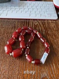 Vintage Antique Cherry Amber Faturan Bakelite Barrel Shaped Beads 67 Grammes