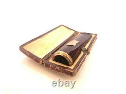 Vintage Antique Genuine Red Amber Cigarette Holder Gold Rim With Box