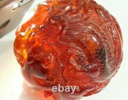 Vintage Asian Amber Ball Bakelite Catalin Statue 410 G Statue100% Sculptée À La Main
