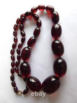 Vintage Cerise Amber Bakélite Prystal Gros Collier De Perles Testé 85g 9ct Fermoir