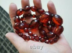 Vintage Cherry Amber Bakelite Perle Graduée Face À Face Long Collier 58g