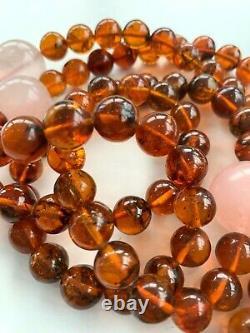 Vintage Chinois Chine Rouge Amber Court Collier Jade Republic Gemstone