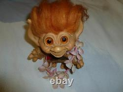 Vintage Dam Things Tailed Troll 1965 W Orig Outfit Rouge Mohair Ambre Yeux Rare 7