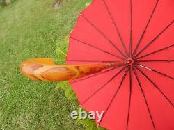 Vintage Egg Yolk Ambre Catalin Bakelite Parapluie Chic K&r Poignée Art Deco 30's