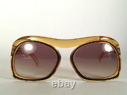 Vintage Rare Christian Dior 2043 10 Lunettes De Soleil Ambre & Noir 1970 Autriche