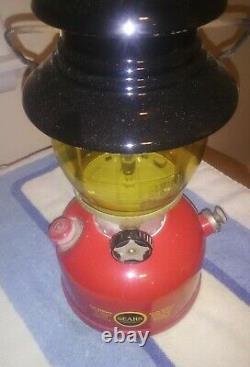 Vintage Red Sears Lantern Single Mantle Amber Globe Belle 12-63